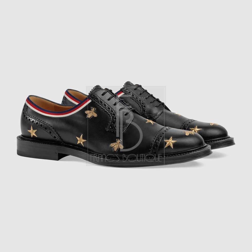 Gucci Leather Embroidered Brogue Shoe