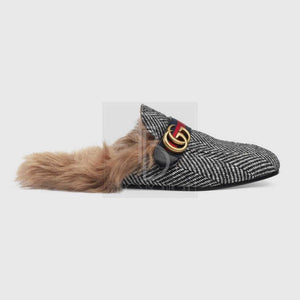 Gucci Princetown Herringbone Slipper With Double G