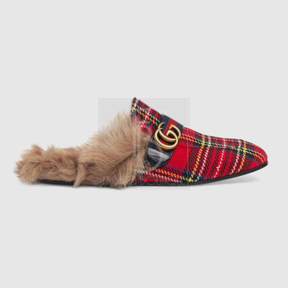 Gucci Princetown Tartan Slipper With Double G