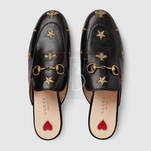 Gucci Princetown Embroidered Leather Slipper