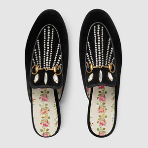 Gucci Princetown Velvet Slipper With Crystals