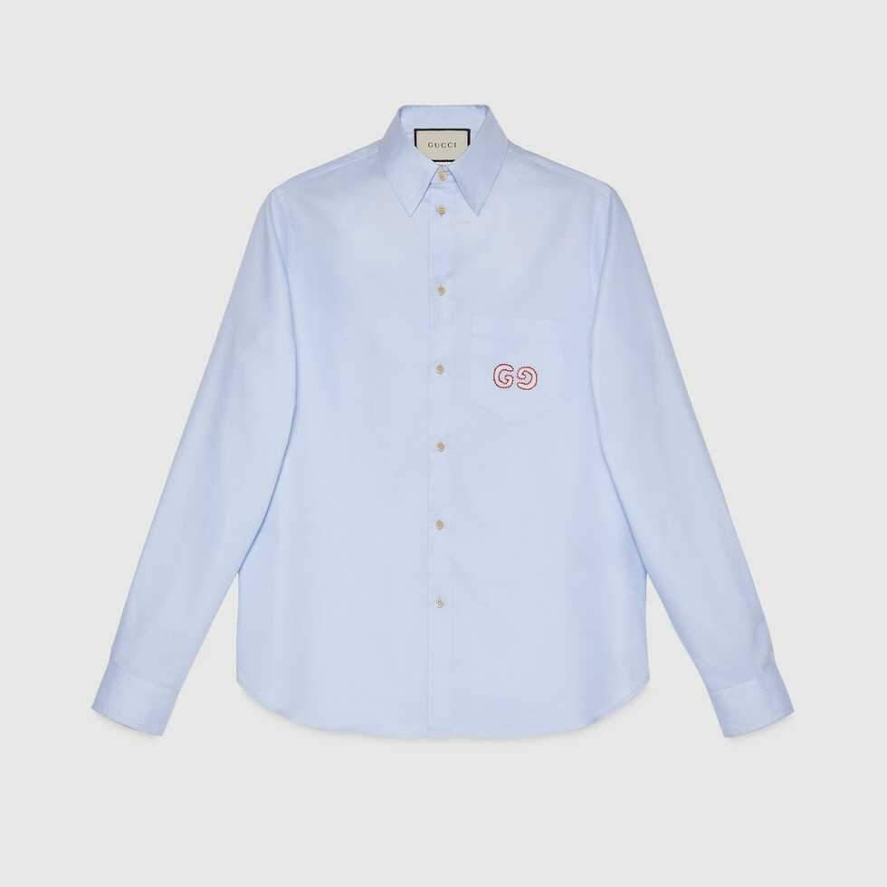 Gucci Oxford Cotton Shirt With Gg