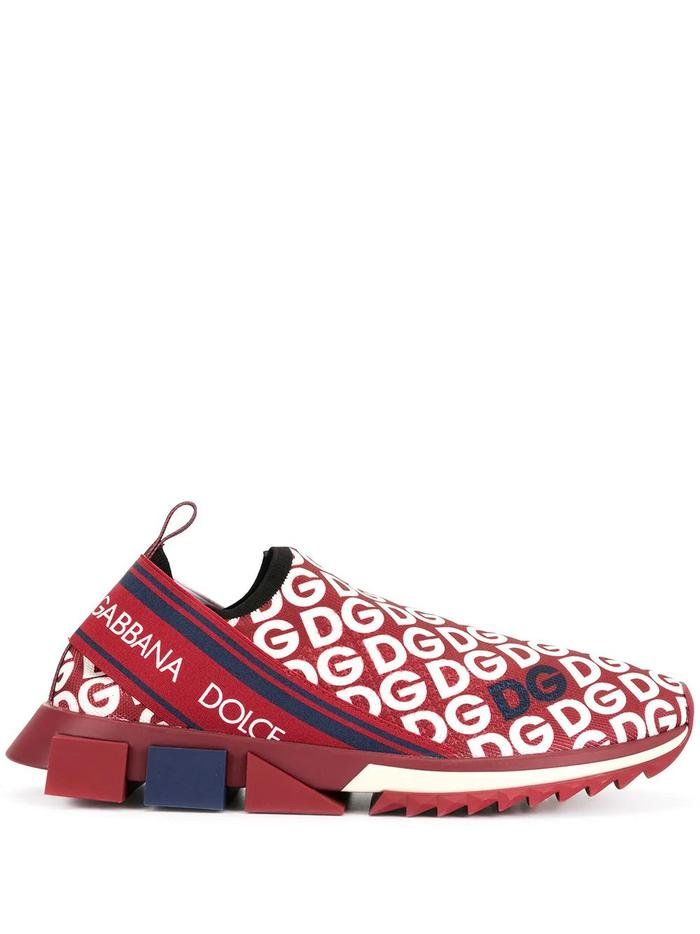 DOLCE E GABBANA RED SLIP ON SNEAKERS