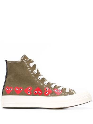 LCOMME DES GARCON PLAY GREEN HI TOP SNEAKERS