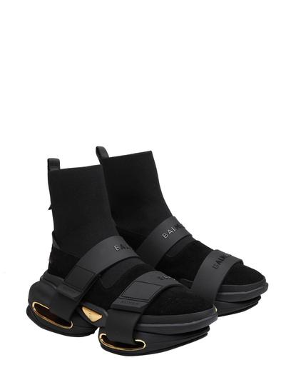 BALMAIN BLACK HI TOP SNEAKERS
