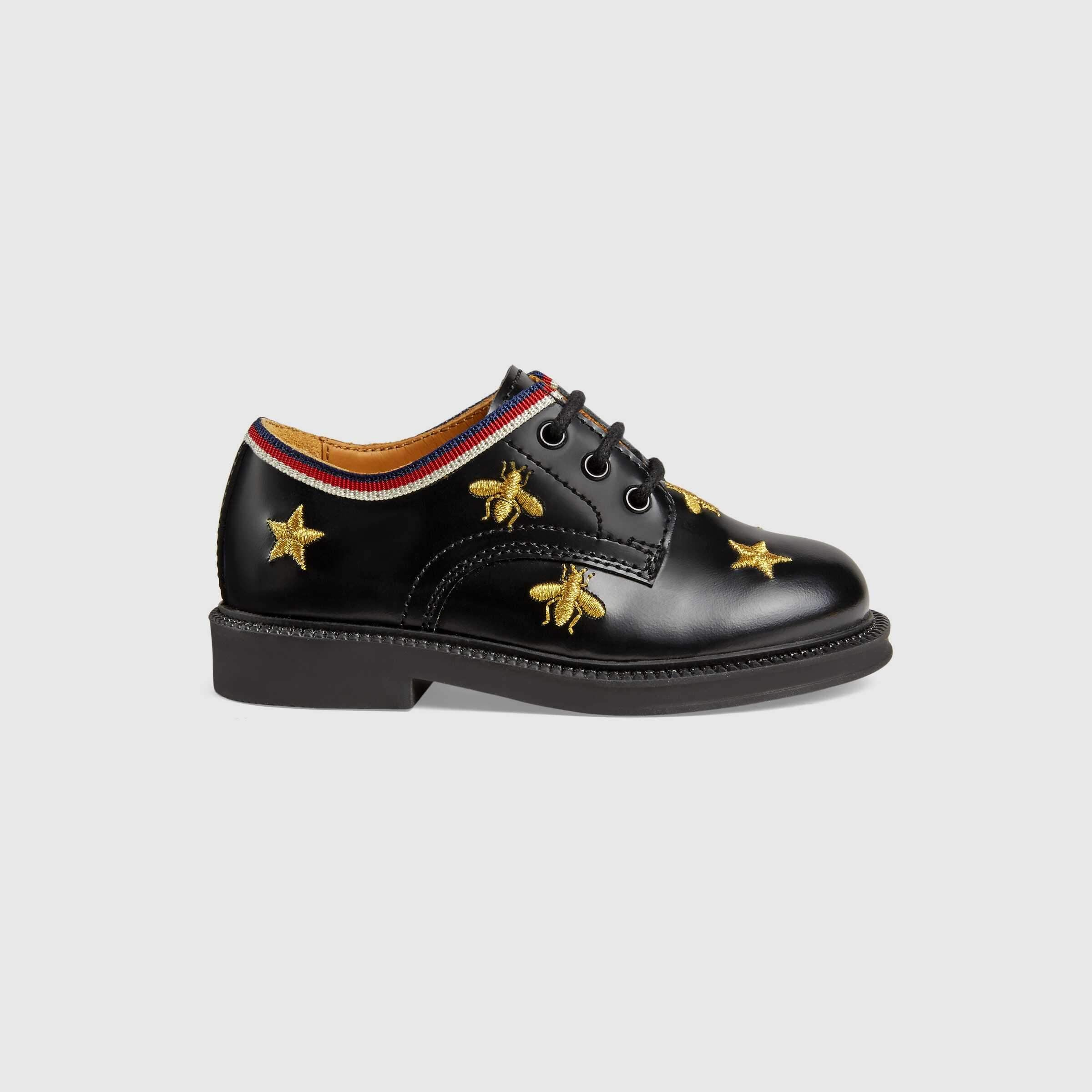 Gucci Toddler Bees And Stars Lace-Up Shoe