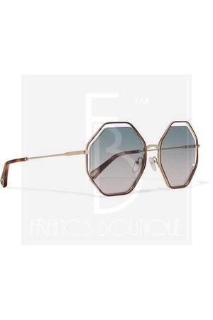 Chloe Poppy Octagon-Frame Acetate & Gold-Tone Sunglasses