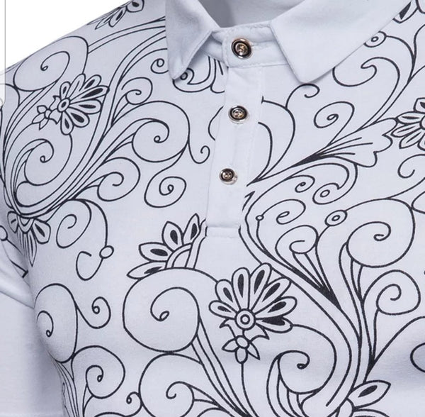FB Polo Shirt with Floral Print