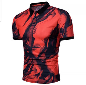 FB Polo Shirt with Ink Smoke Print