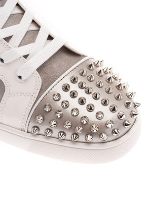 CHRISTIAN LOUBOUTIN SILVER HI TOP SNEAKERS