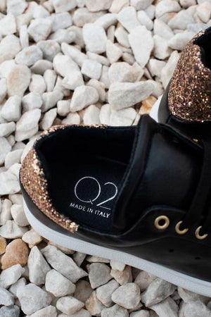 Chunky Sneakers in Black and Gold Glitter