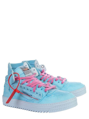 OFF-WHITE LIGHT BLUE HI TOP SNEAKERS