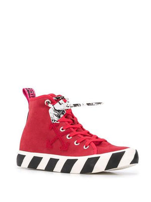 OFF-WHITE RED HI TOP SNEAKERS