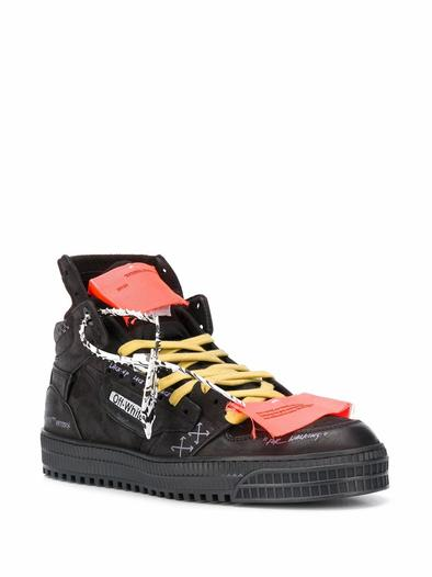 OFF-WHITE BLACK HI TOP SNEAKERS
