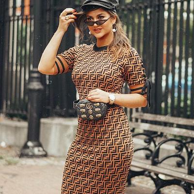 Ff Logo Knit Midi Dress