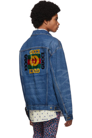 Gucci Blue Denim Patches Oversized Jacket