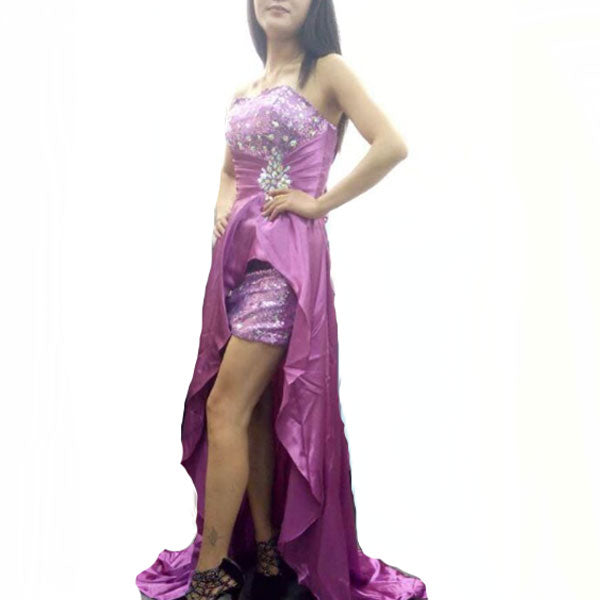 102002M14(Size:M) Women s Party Purple Off The Shoulder Solid Lace Floor-Length Evening Dress