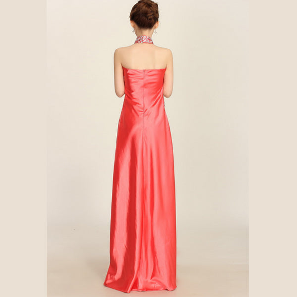 10X0765S07(Size:S) Women s Elegant Red Stand Solid Denim Floor-Length Evening Dress