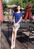 1204111S13(Size:S) Women s Stylish Blue Peter Pan Collar Striped Chiffon Above Knee Short Sleeve Bodycon Dress