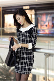 1220021S06(Size:S) Women s Sweet Black O-Neck Plaid Above Knee Long Sleeve Straight Dress