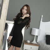 1265025S06(Size:S) Women s Casual Black Chiffon Long Sleeve Dress