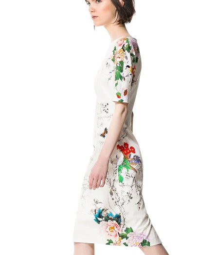 151441L04(Size:L) Women s Cute White O-Neck Floral Knee-Length Short Sleeve Straight Dress