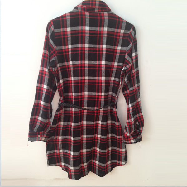 159888S07(Size:S) Women s Sweet Red Plaid Shirt