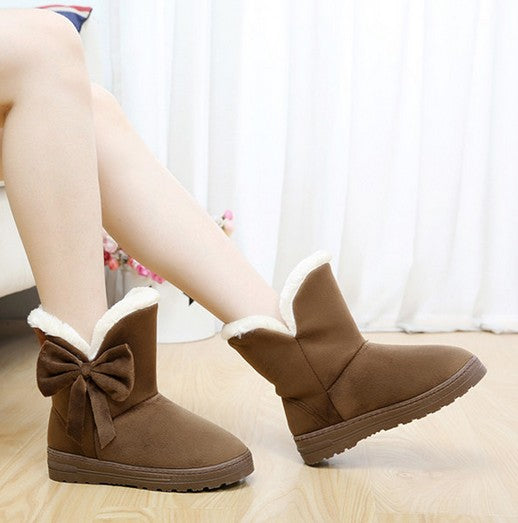 15A-1-3508(Size:35) Sexy Brown Solid Flock Boots