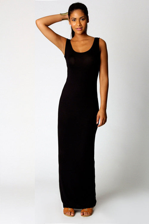 15QH1033S06(Size:S) Women s Simple Black O-Neck Solid Ankle-Length Maxi Dress