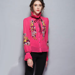 179055L15(Size:L) Women s Lovely Pieces Of Red Print ChiffonChiffon Shirt