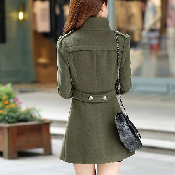 206001S16(Size:S) Women s Simple Army Green Stand Solid Woolen Coat
