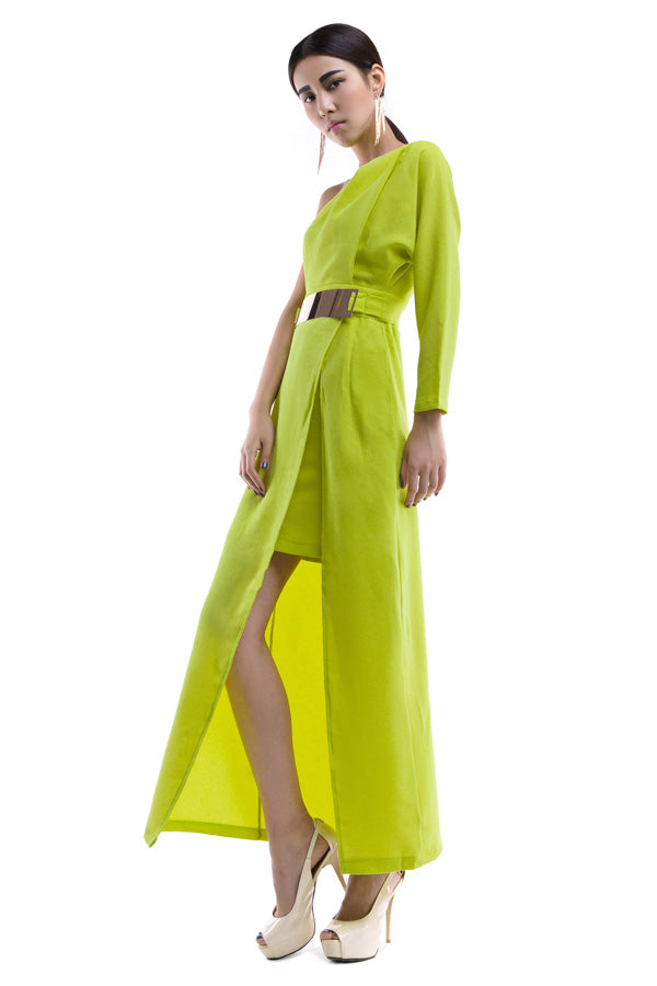 22113042S09(Size:S) Women s Elegant Green One Shoulder Solid Ankle-Length Asymmetrical Long Dress