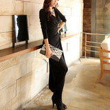 22G7292S06(Size:S) Women s Cute Black V-Neck Solid Ankle-Length Maxi Dress