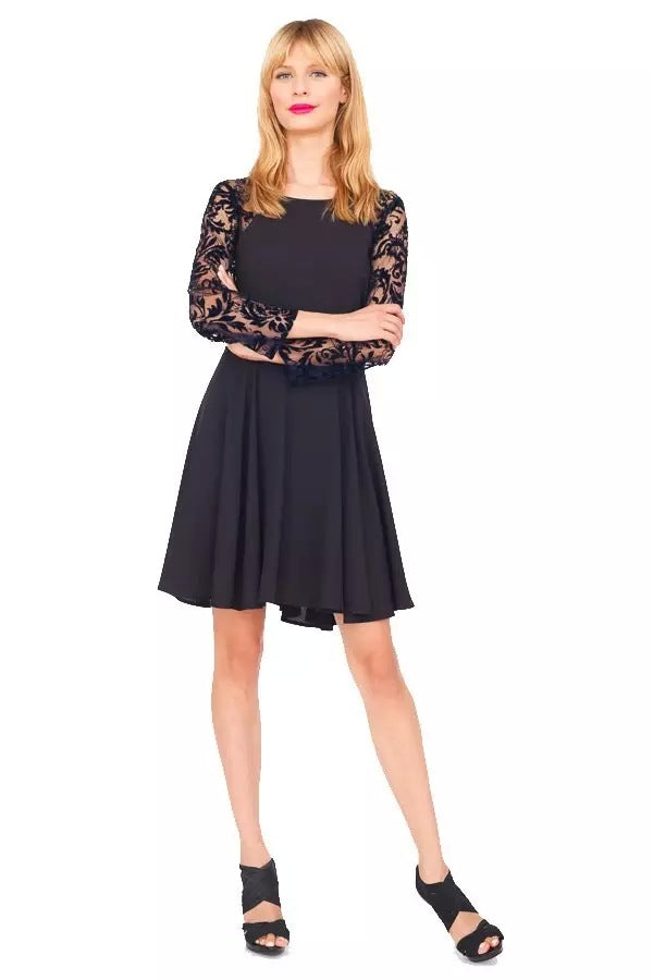 267866S06(Size:S) Women s Stylish Black O-Neck Solid Knee-Length Long Sleeve A-Line Dress