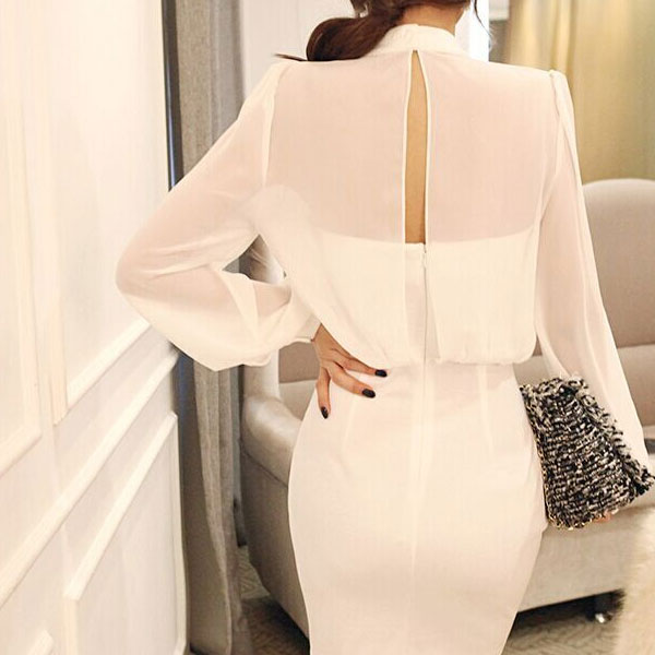 40359504 Women s Stylish White O-Neck Solid Above Knee Long Sleeve Bodycon Dress