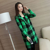 4237237009 Women s Casual Green Notched Plaid Coat