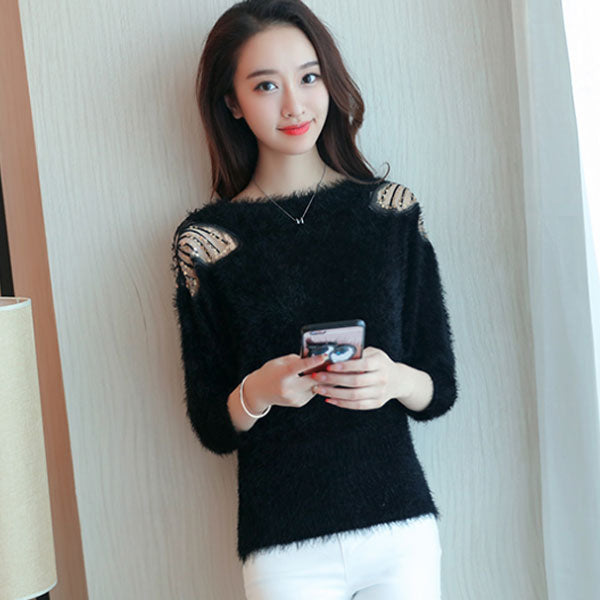4237793806 Women s Lovely Black O-Neck Solid Sweater