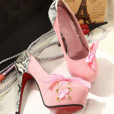 792992-3510(Size:35) Lovely Pink Patchwork Flock Pumps