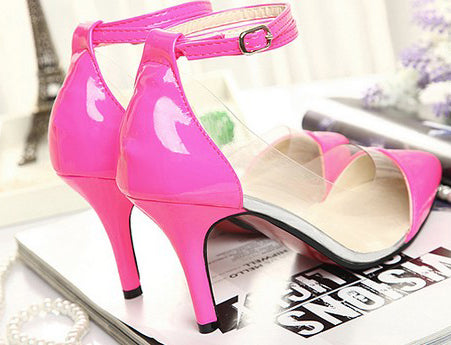 795649-3915(Size:39) Sweet Rose Red Patchwork PU Pumps