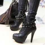 797022-3606(Size:36) Simple Black Solid PU Boots
