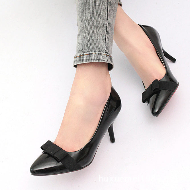 873961-3906(Size:39) Sweet Black Patchwork Patent Leather Pumps