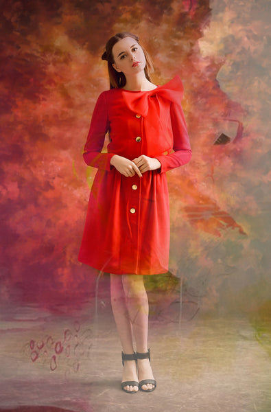 Red Bow Dancer Coat
