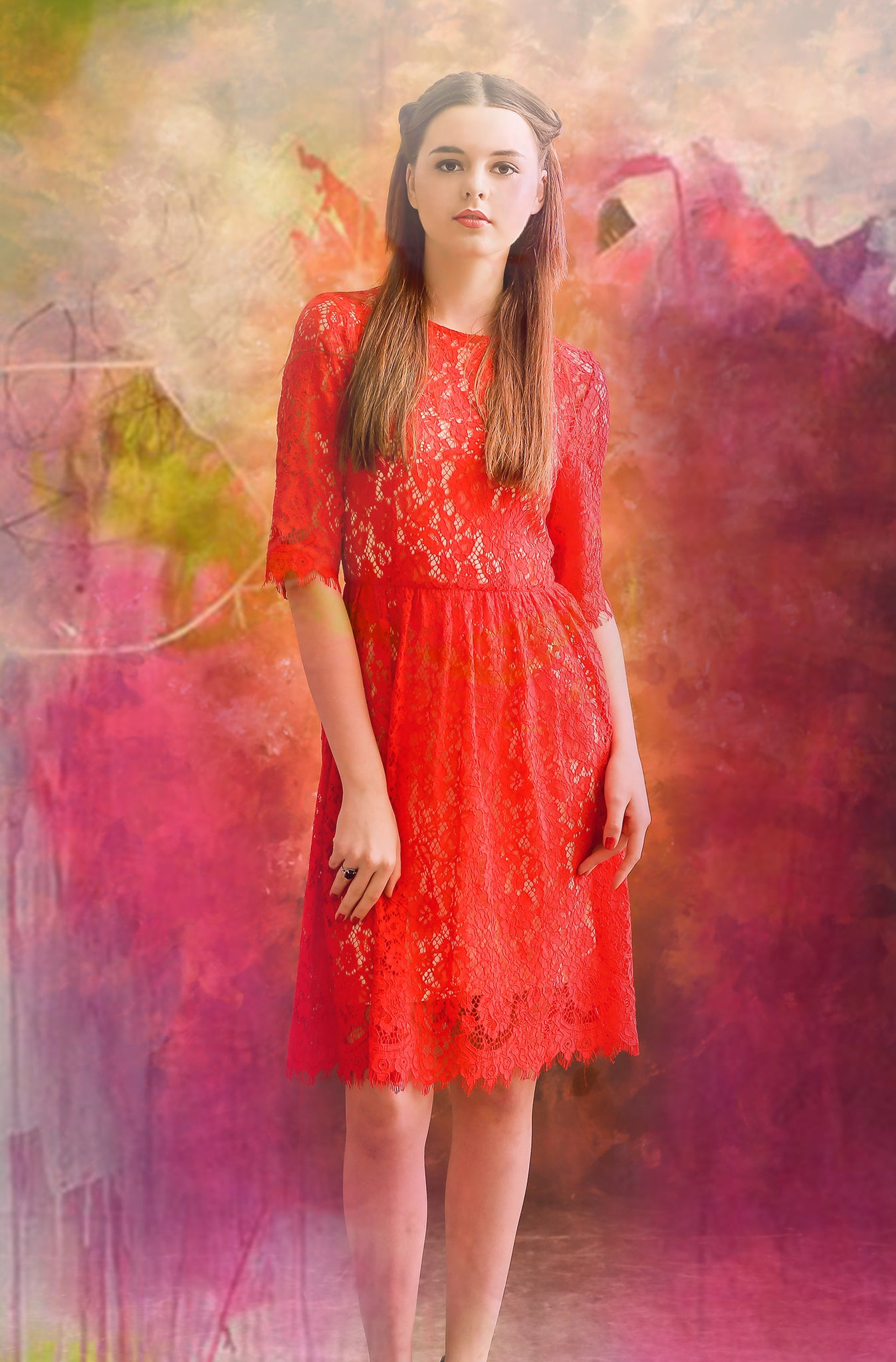 ALL THAT JAZZ The Love Angel Red Lace Dress