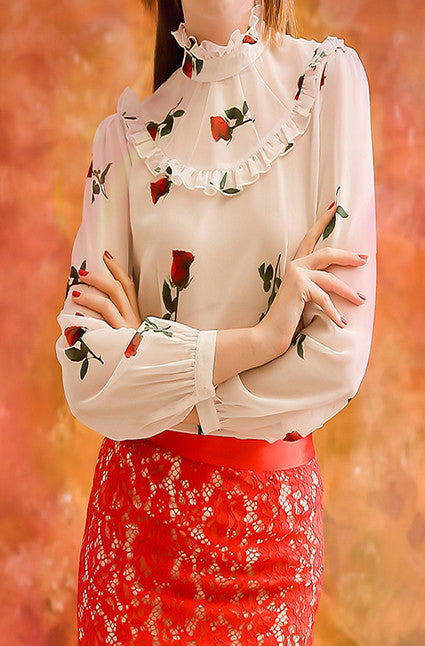 Red Rose blouse