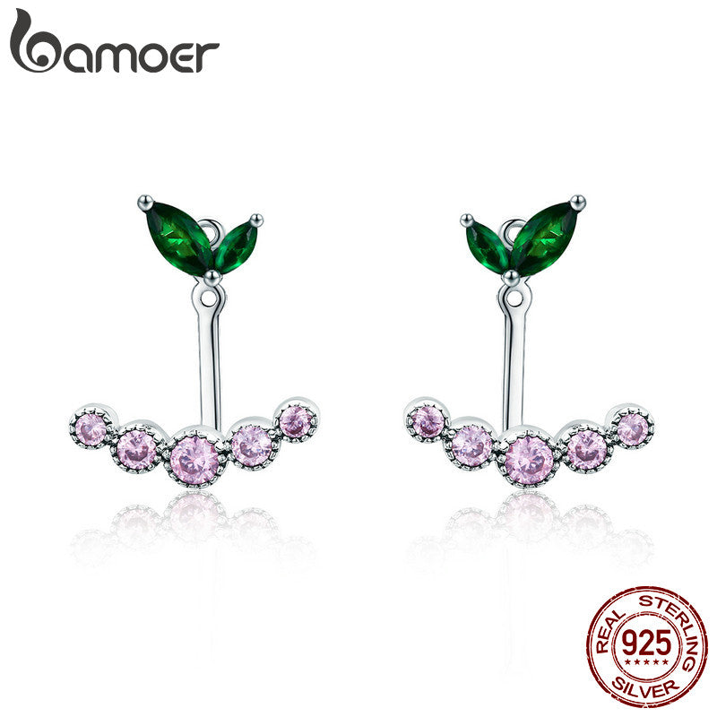 BAMOER Real 925 Sterling Silver Spring Flower Buds Stud Earrings Pink & Green CZ Stud Earrings for Women Silver Jewelry SCE296
