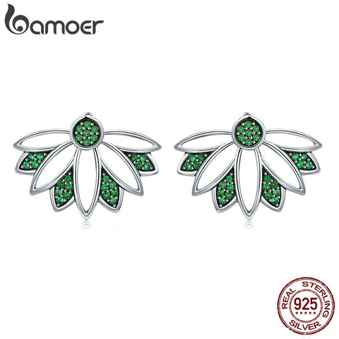 BAMOER Real 100% 925 Sterling Silver Tree of Life Leaves Green CZ Stud Earrings for Women Sterling Silver Jewelry S925 SCE334
