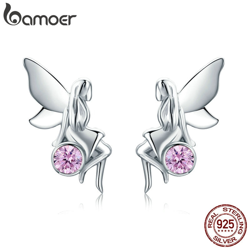BAMOER New Trendy 100% 925 Sterling Silver Flower Fairy Pink CZ Stud Earrings for Women Sterling Silver Jewelry Gift SCE395