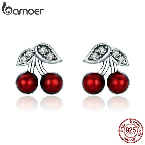 BAMOER Fashion 925 Sterling Silver Summer Cherry Red Enamel & CZ Stud Earrings for Women Sterling Silver Jewelry Gift SCE404