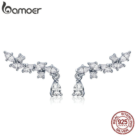 BAMOER Genuine 100% 925 Sterling Silver Elegant Crystal CZ Geometric Stud Earrings for Women Sterling Silver Jewelry SCE385