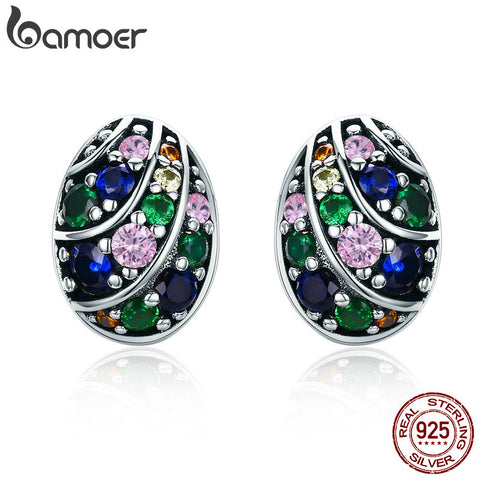 BAMOER 100% 925 Sterling Silver Easter Egg Colorful AAA Zircon Stud Earrings for Women Sterling Silver Jewelry Bijoux SCE293